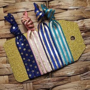 Accessories - Set of 4 Hair Ties - Pink Navy Teal Gold Stripes